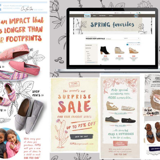 Illustrations across TOMS marketing materials