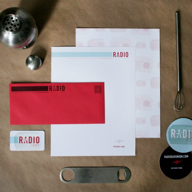 Radio letterhead, stationery, business card, and coasters