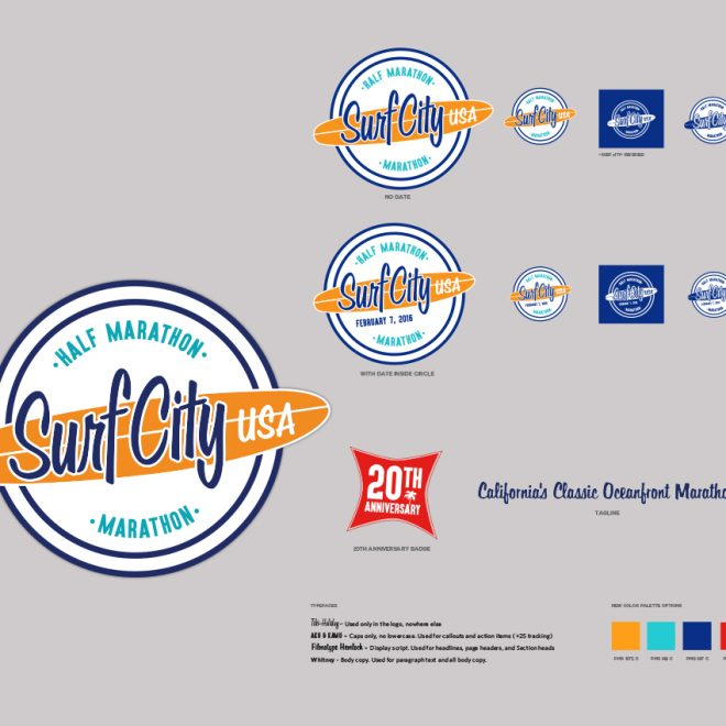 Surf City Marathon/Half Marathon Rebrand - New logo and design elements