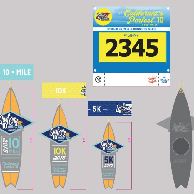 Surf City 10 Medal Designs and Race Bib
