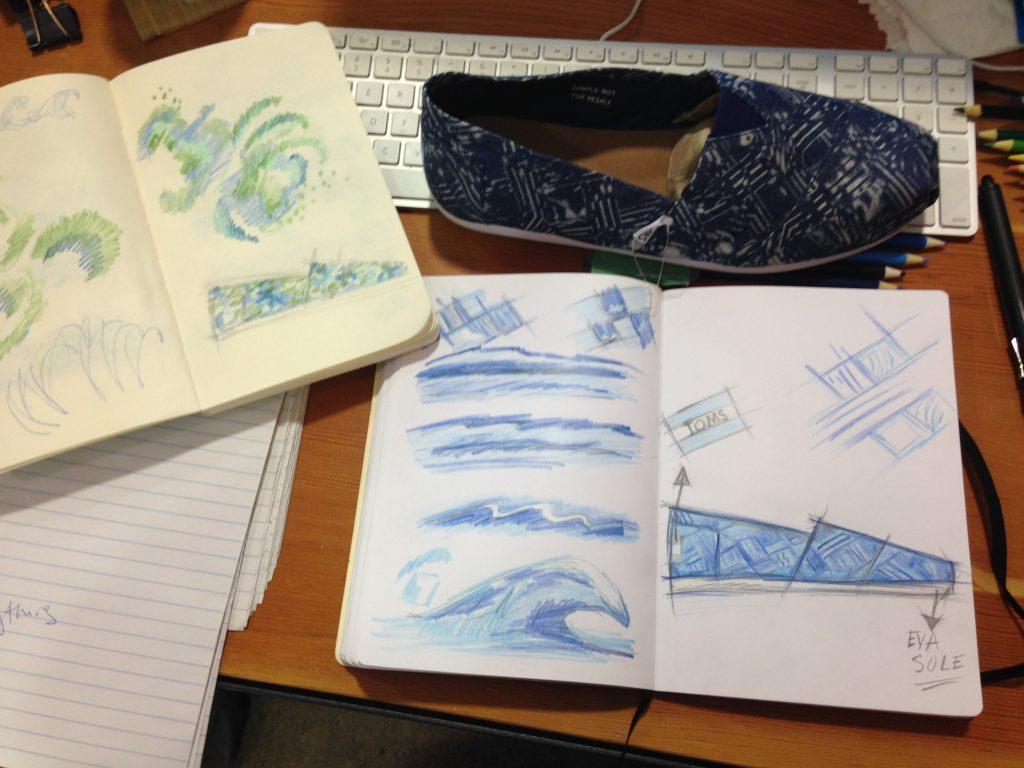sketchbook of shoe drawings